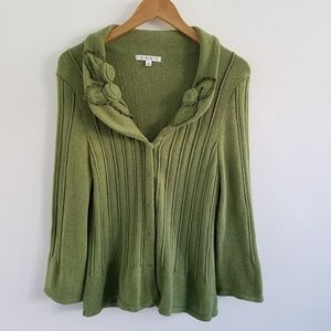Cabi Chunky Knit Button Front Cardigan Sweater  L